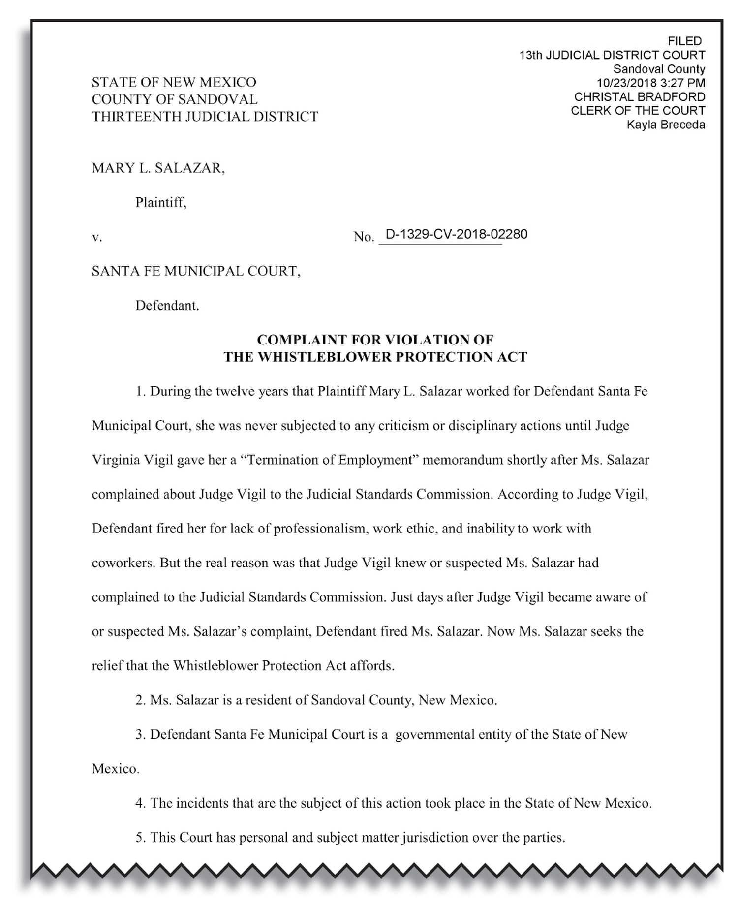 Judge Virginia Vigil's lawyer has not yet responded to the complaint filed in District Court last October