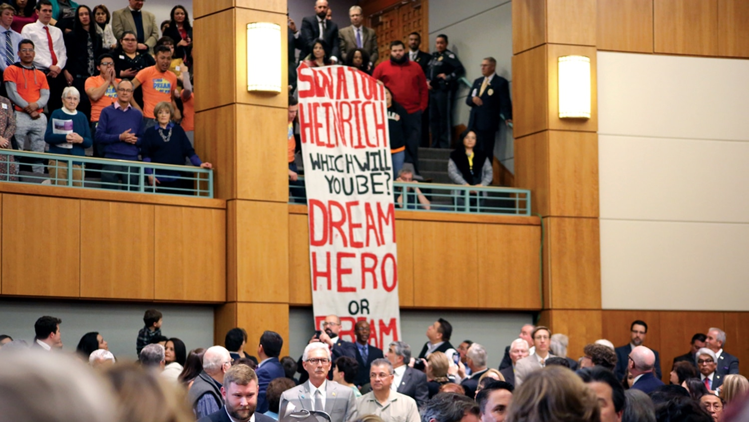 Dream Act supporters stopped the speech cold.