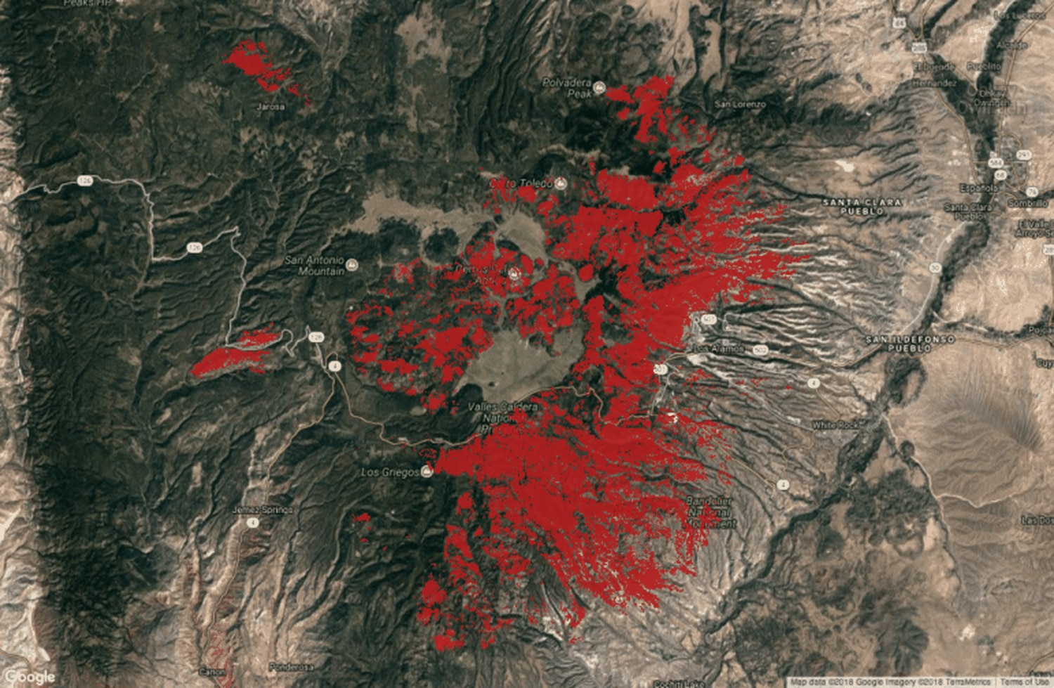 High severity, tree-killing fires in the Jemez Mountains since the 1970s through 2017, with most of the fires shown in red occurring since 1996.