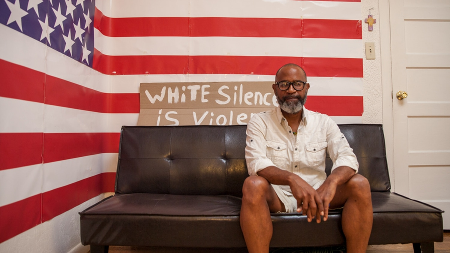 Loveless Johnson III, pictured at his home office and podcast studio, says the nascent NMJA will work across spectrums on a variety of issues. A Plaza rally is planned Saturday, June 20 at noon.