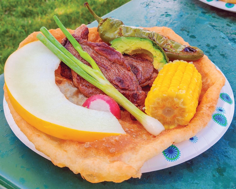 Roast Lamb – Calabaza's Native Food from Santo Domingo Pueblo at Santa Fe Indian Market in August 2019