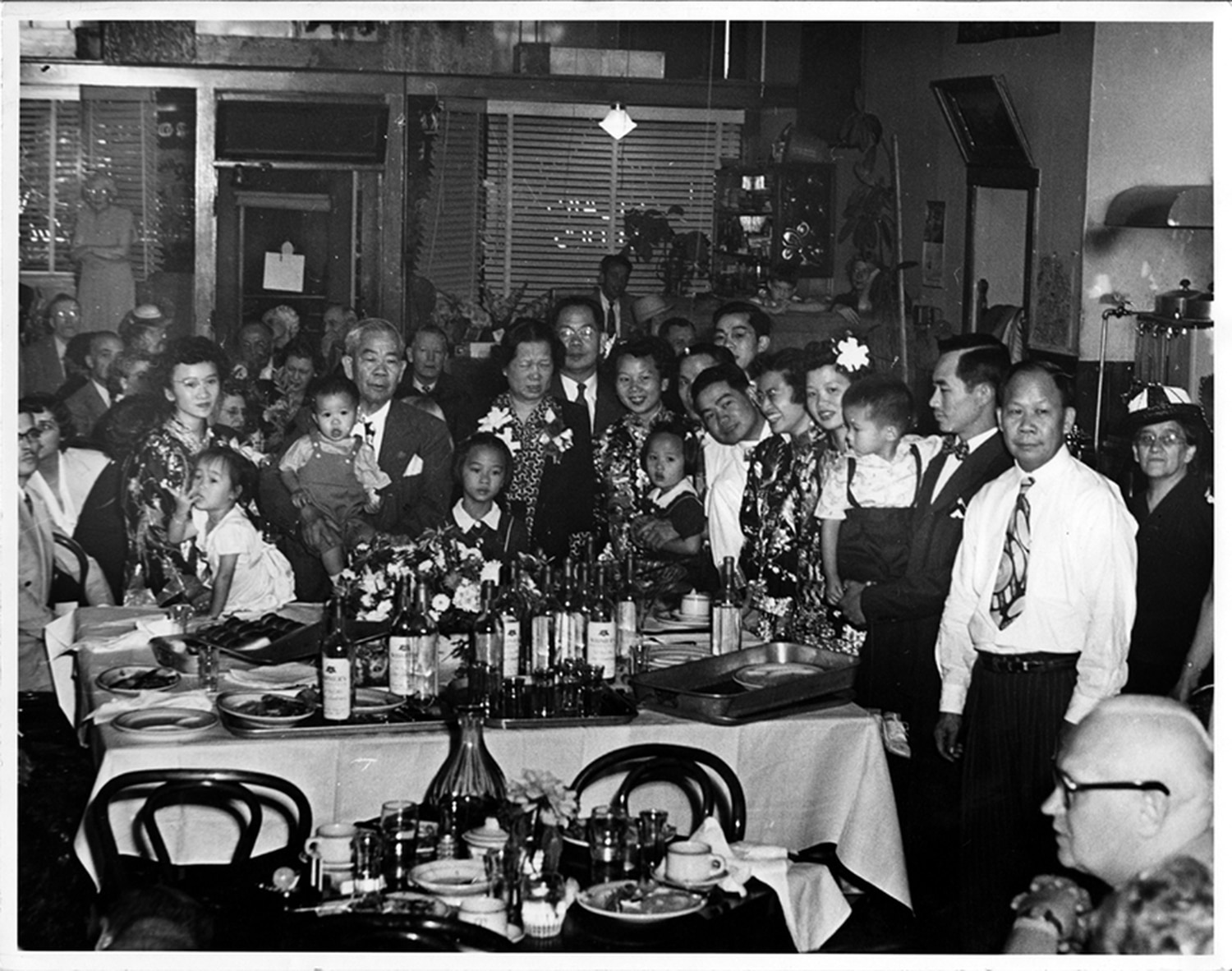 The family frequently held gatherings at the New Canton Cafe. George Park, Henry Gee Gay and Joe Gee are all pictured in this undated photograph.