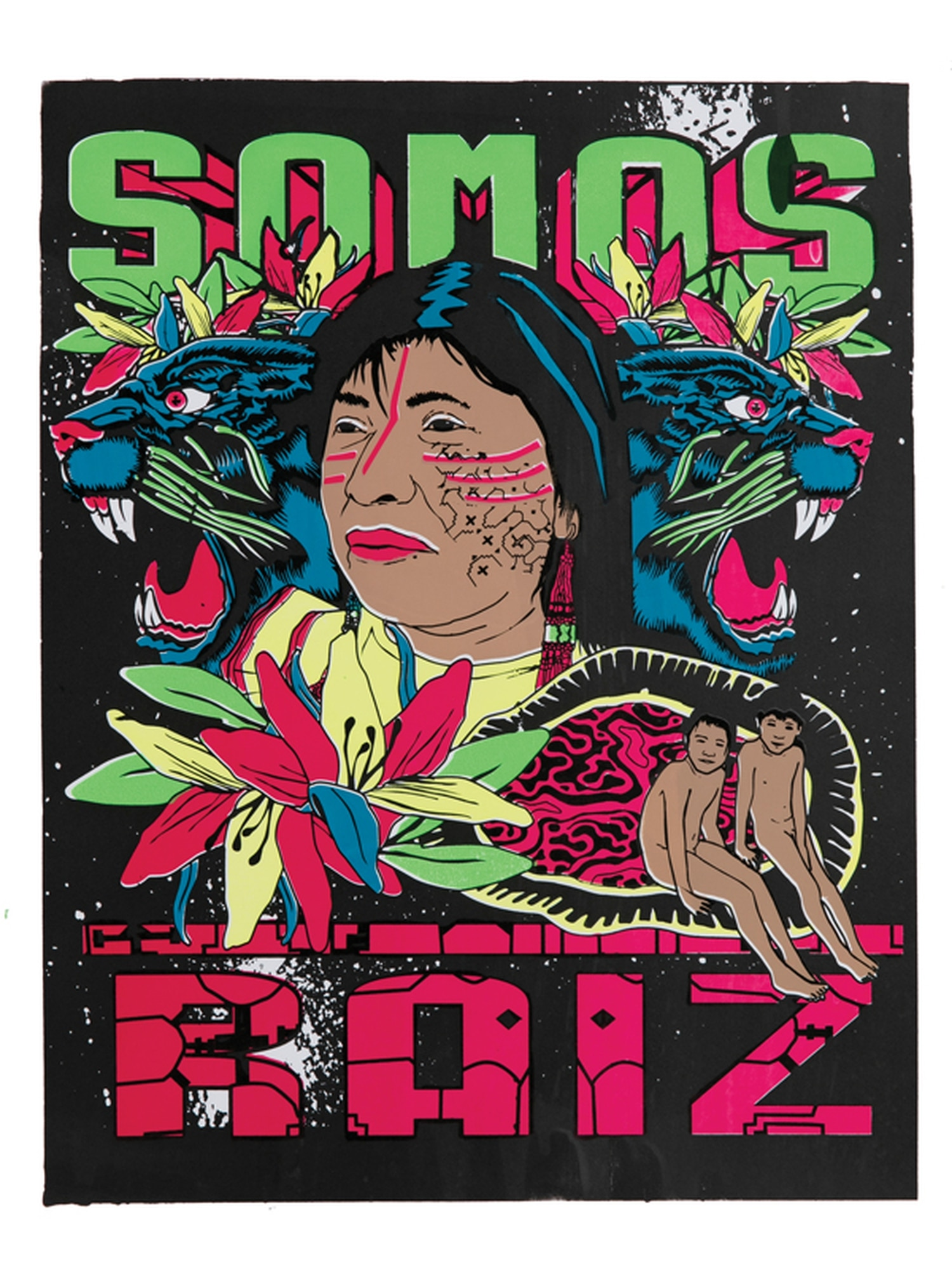 """""""Somos Raiz/We are Roots,"""" poster by Amapolay is part of the exhibit from Peru at the Museum of InternationalFolk Art."""
