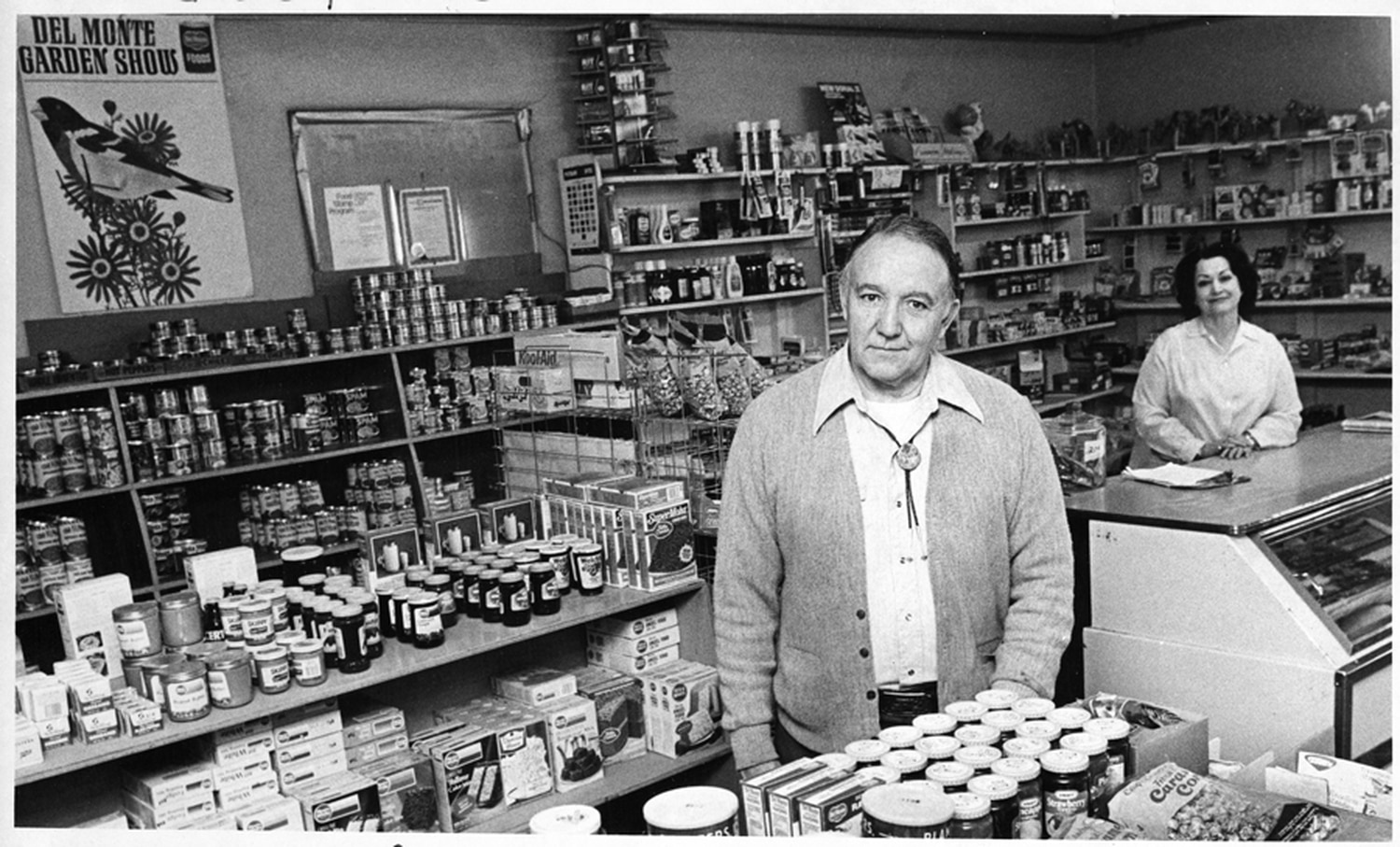Proprietor Meliton Vigil Jr. in the Palace Grocery on East Palace Avenue, Santa Fe, New Mexico, circa 1980.