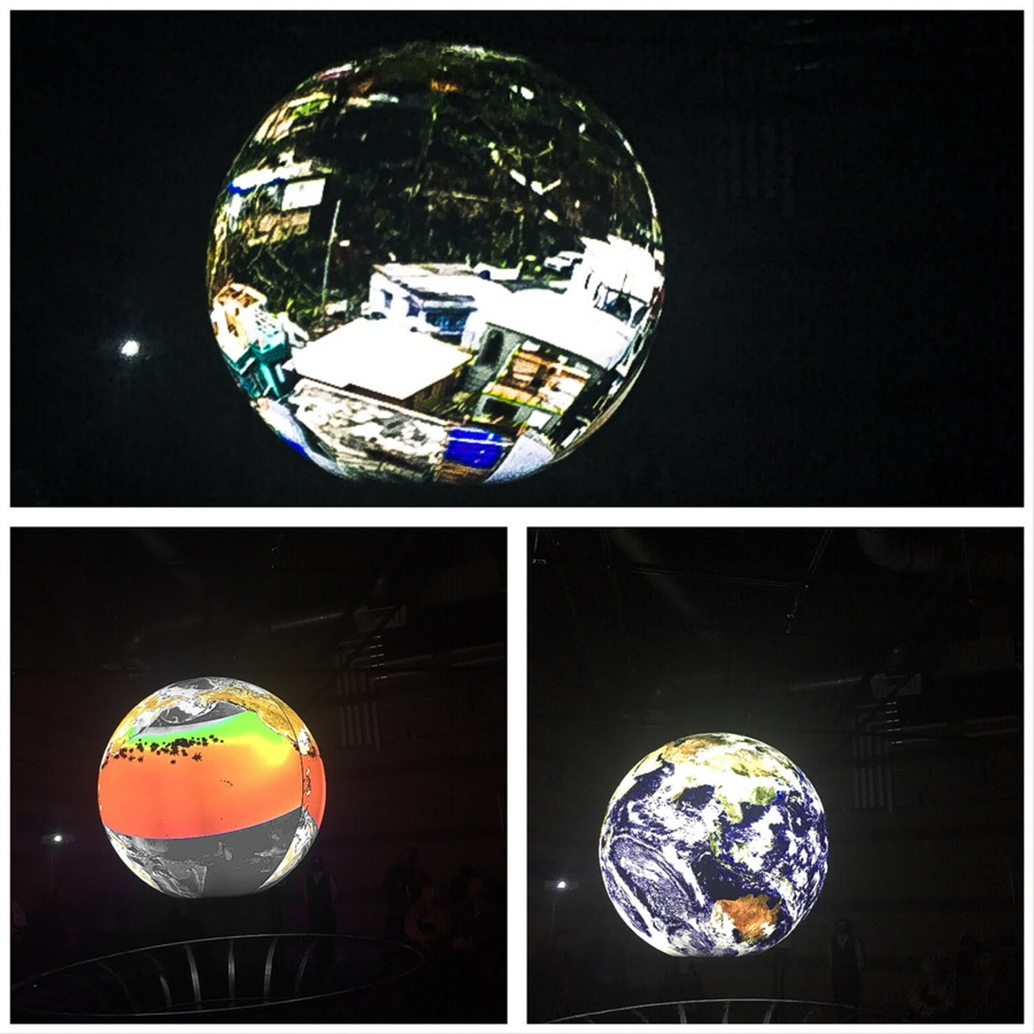 Science on a Sphere can display a variety of datasets and images, such as drone footage from Hurricane Maria's devastation to Puerto Rico (top), migrating sea turtles and weather satelliteimagery.