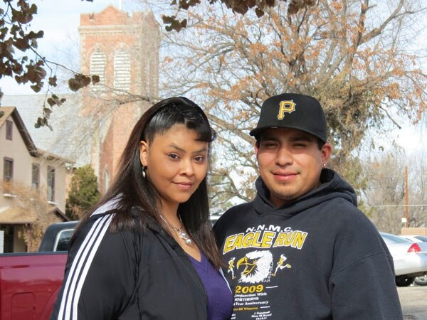 Melanie Garcia (left) and her fiancé Manuel Chavez are speaking out against domestic violence.