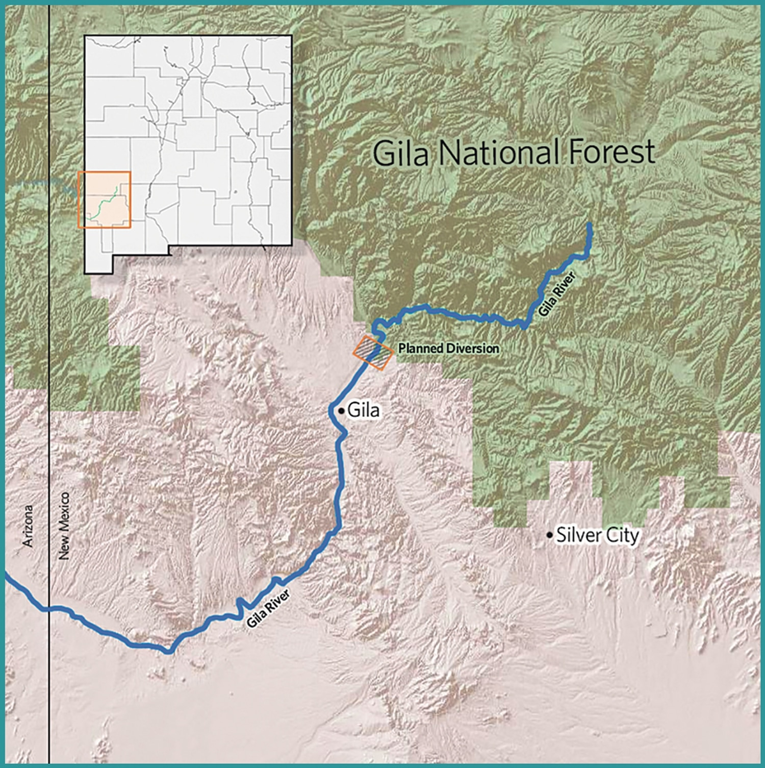 The headwaters of the Gila River lie in the mountains of southwestern New Mexico. Then the river flows to Arizona, where it meets the Colorado River near Yuma.