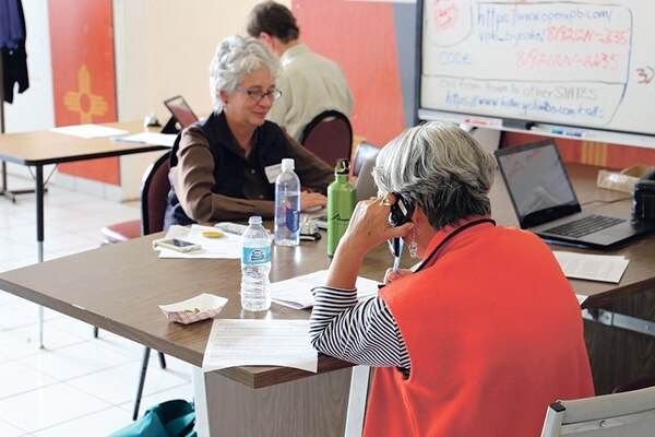 Women spent countless hours making phone calls in Santa Fe to rally support for Clinton.