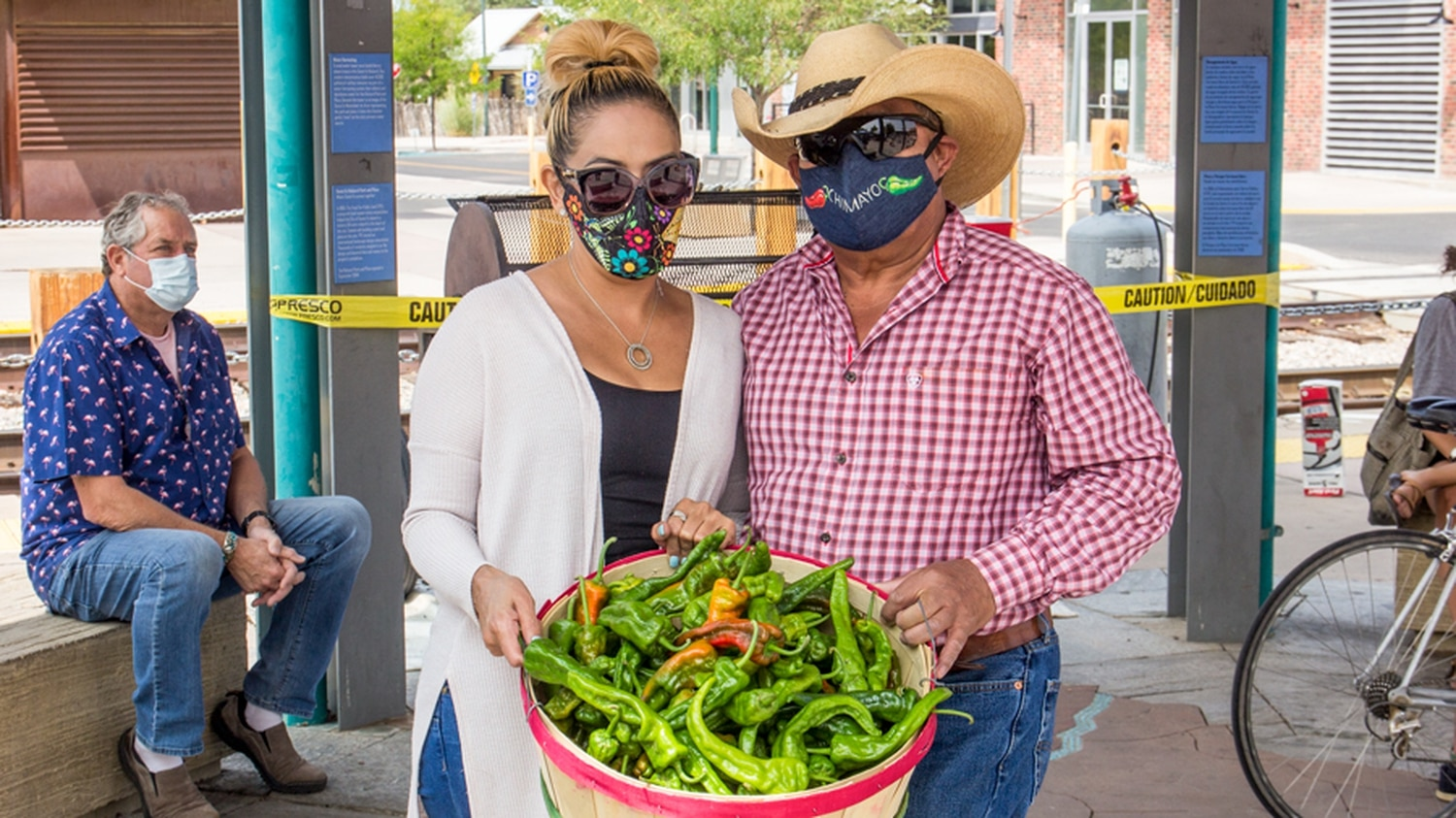 Chencho Ochoa of Chencho's Famous Chimayo Chile shows off his harvest.