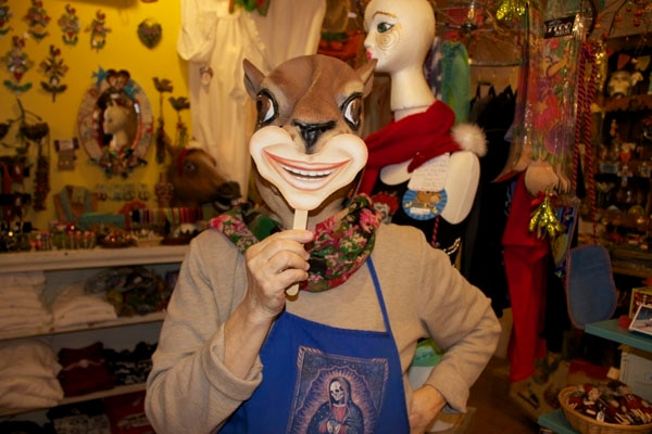 Poole models the double whammy squirrel mask/smile-on-a-stick combo. -Enrique Limón