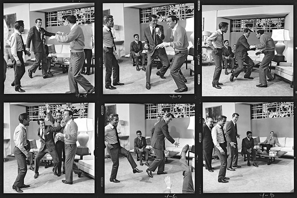 """""""The Stars of Ocean's 11 stage a fight, Hollywood, 1960"""" by Sid Avery. © MPTVIMAGES"""