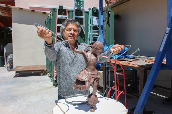 George Rivera has nearly completed a sculpture of his son.