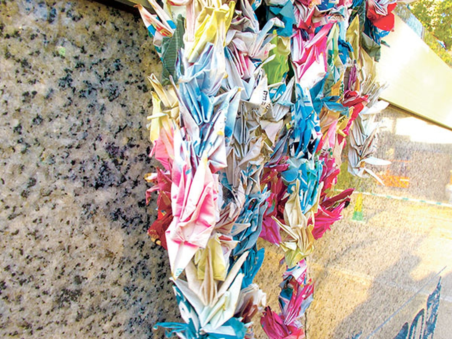 Thousands of cranes hang in Hiroshima Memorial Peace Park this spring.