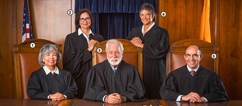 Our Supreme Court: (1) Petra Jimenez Maes (2) Barbara Vigil (3) Charles Daniels (4) Judith Nakamura (5) Edward Chavez