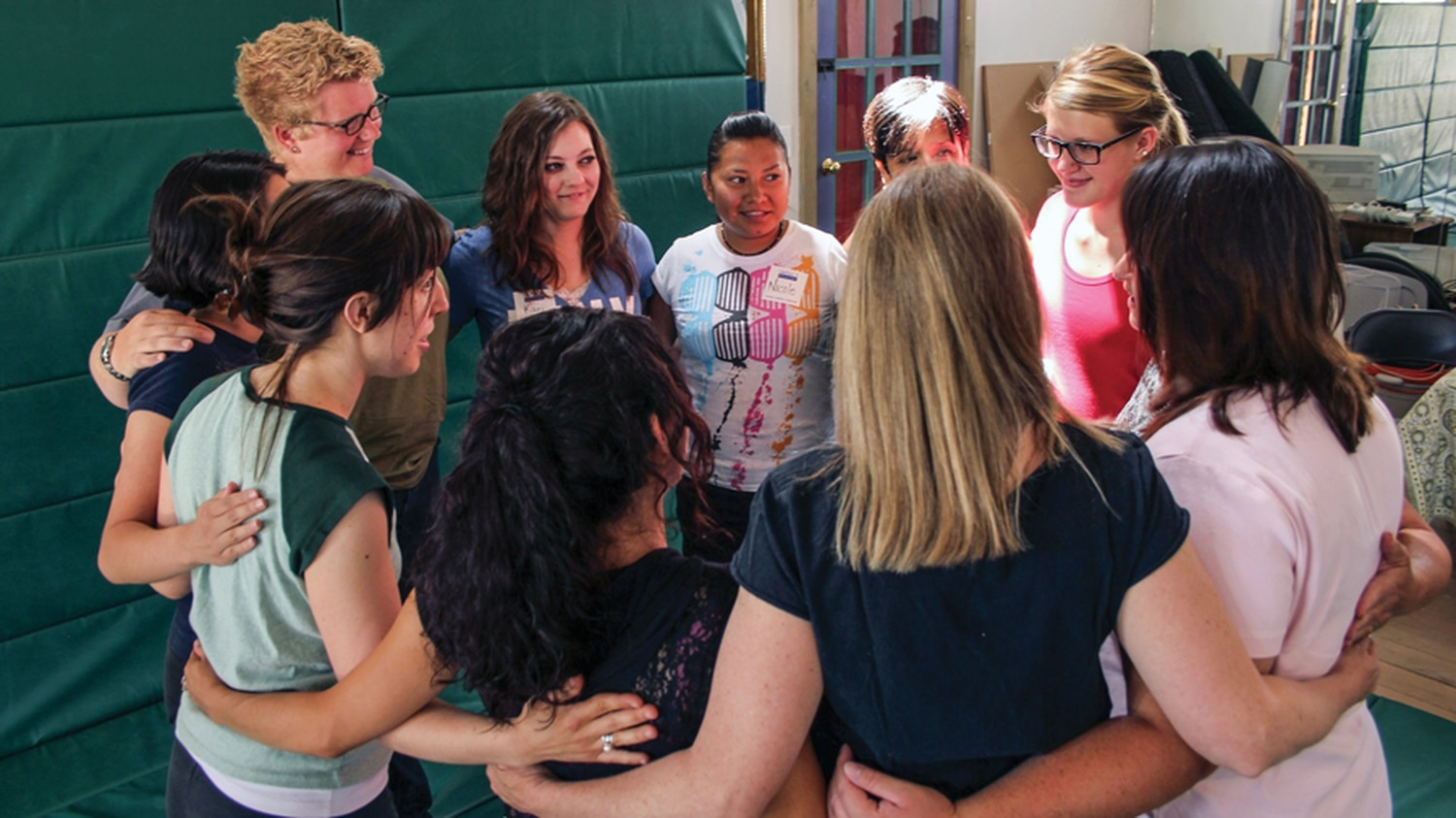 Resolve students circle up before, during, and after classes to reinforce a feeling of community.