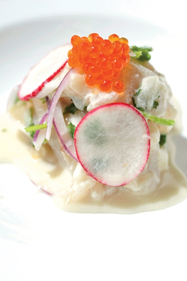 "Ceviche with young ginger, radish, red onion and coconut milk. 222 N Guadalupe St., 954-1635 Lunch Saturday and Sunday; dinner daily Fire & Hops Beer and burgers. Chocolate and whipped cream. Tacos and cider. These are combinations that win every time. OK, maybe not that last one. But if both are selected from the menu at this northside gastropub, the chances are good that culinary victory is still in sight. While the restaurant serves entrees, its small plates seem to better match the feel of what's in and around the kitchen. Share the flavorful and tender Kalua pork tacos with kimchi, radish and green onion ($9 for three) paired with a dry Santa Sidra local apple cider ($10). You might not want to share the poutine, though. The pile of handcut fries ($9) smothered in green chile gravy with cheese curds and bacon will have you pulling it closer to your own plate. Bonus: Mom will be proud of you for eating the surprisingly delicious crispy Brussels sprouts tossed with lime juice and fish sauce to finish ($6), which we're sure retain all their nutritional value despite the whole ""fried"" part. -JAG"