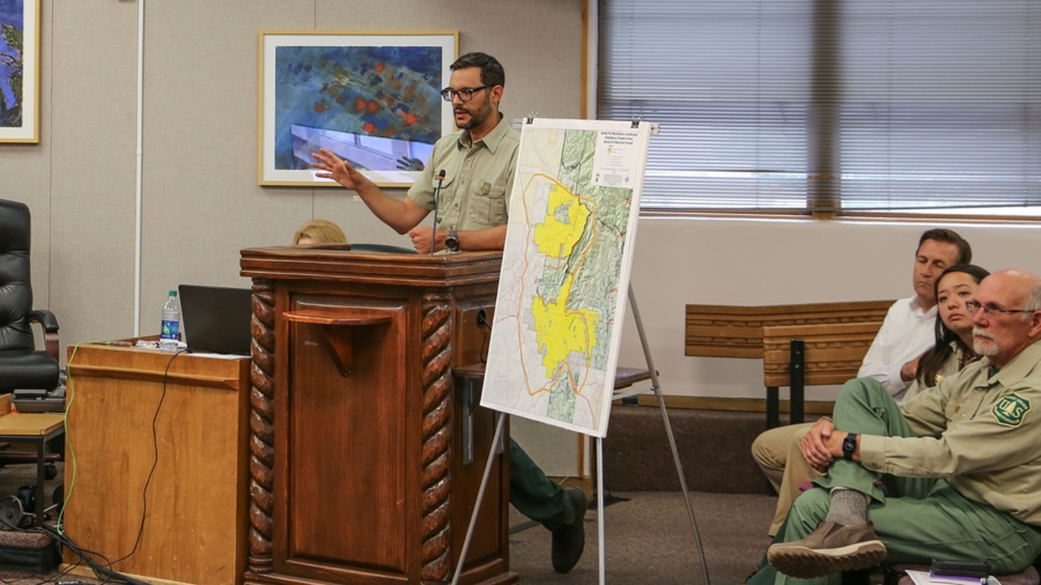 Forest Service Supervisor James Melonas explains proposed resiliency project.