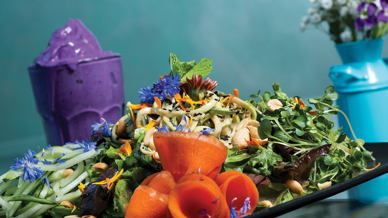 Edible Alchemy: Zen salad with Green Tractor Farms greens and flowers, zucchini noodles, peanuts and carrots