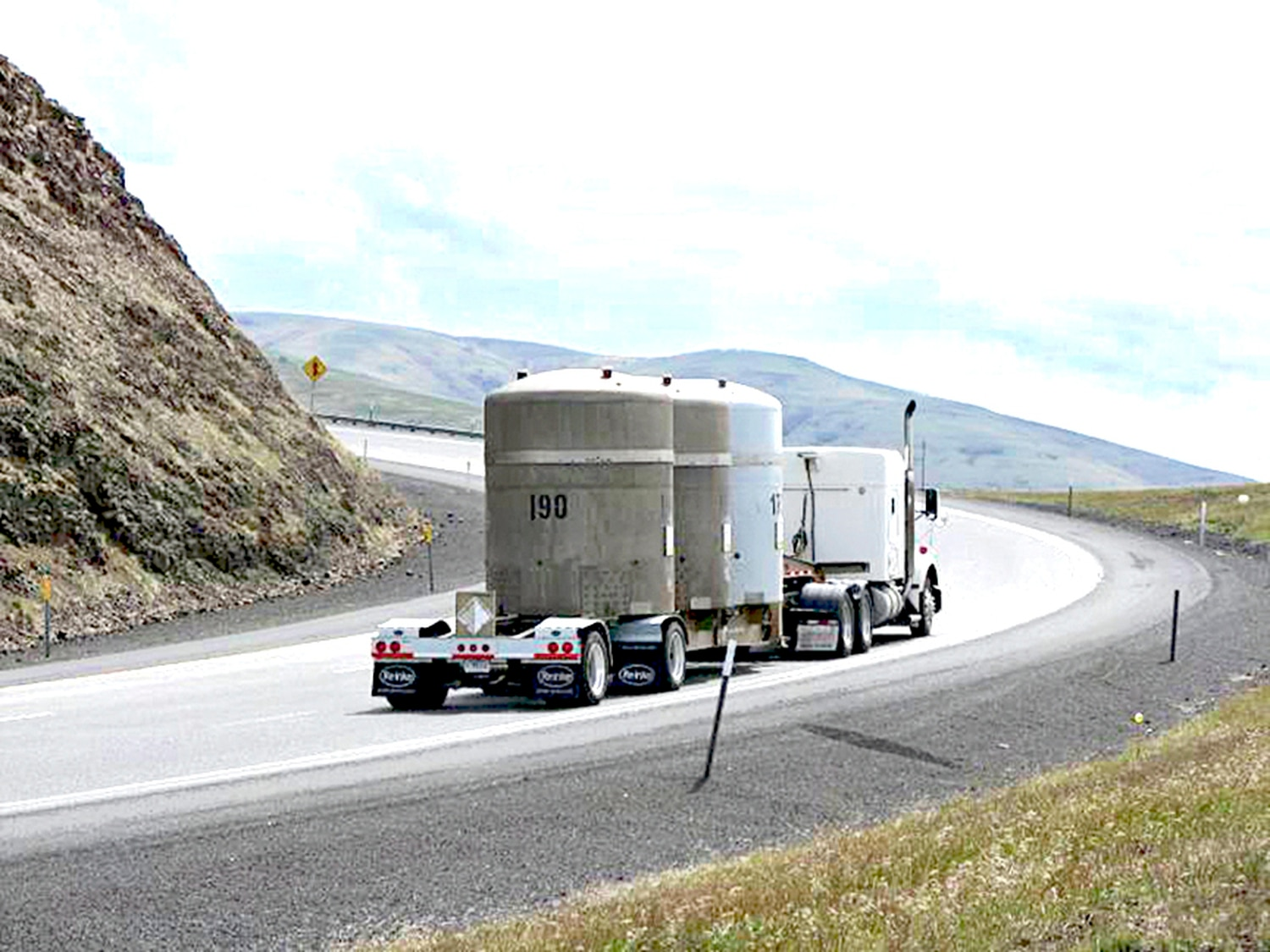 A transuranic waste shipment travels on an approved shipping route to the Waste Isolation Pilot Plant.