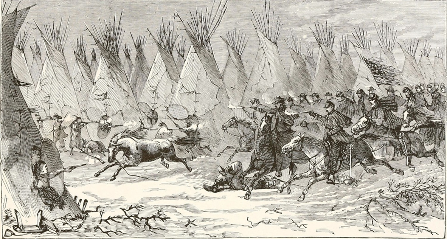 U.S. Cavalry attacking an Indian village.