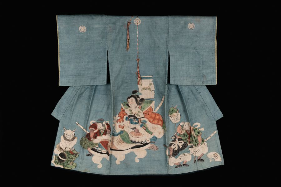 Japan, Edo Period Fabric, indigo and other natural pigments from the Yokai: Ghosts & Demons of Japan exhibit
