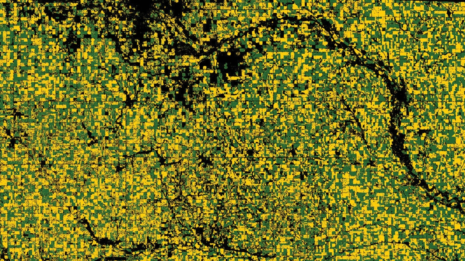A satellite image from Descartes' field segmentation program shows two different crop types.