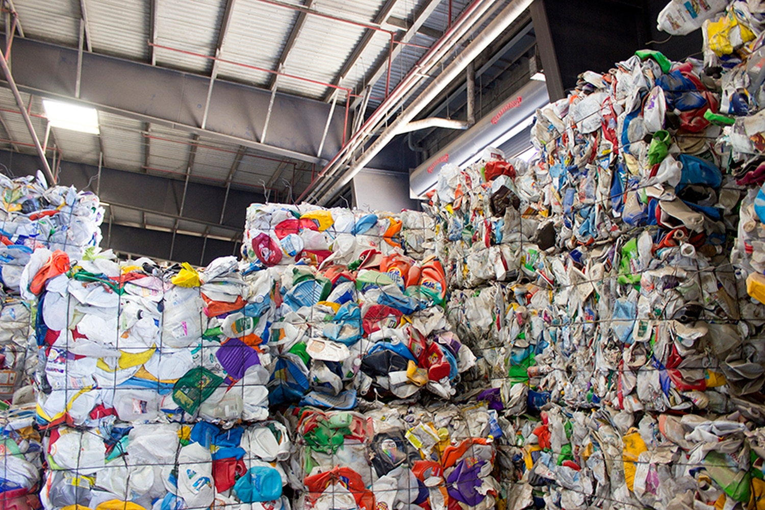Santa Fe's recycling processing center makes bales of plastic for resale.