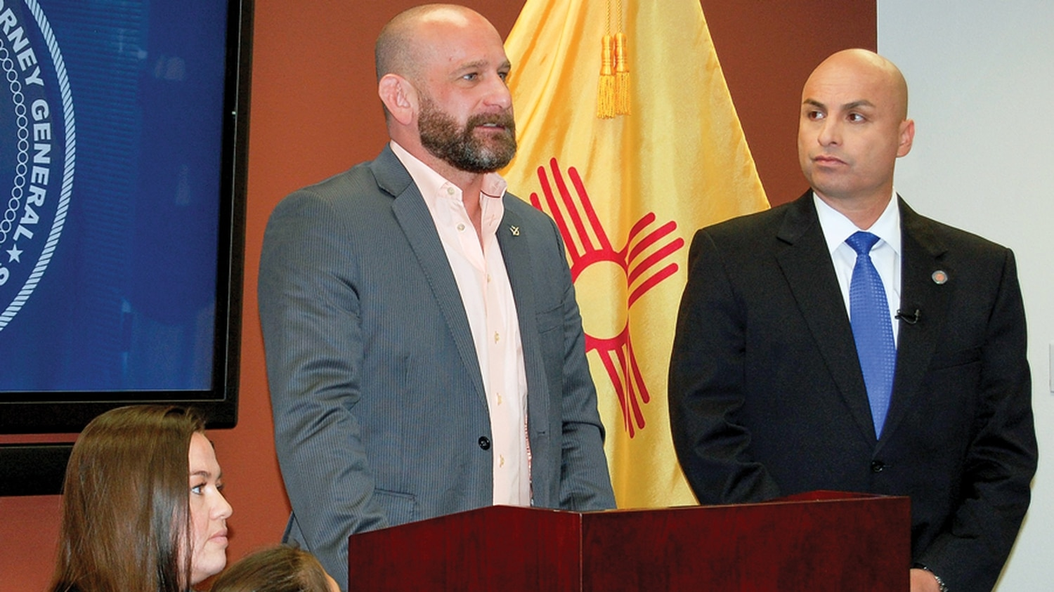 MMA trainer Greg Jackson, left, attended a recent news conference with state Attorney General Hector Balderas—a classic image-making event from the elected official.