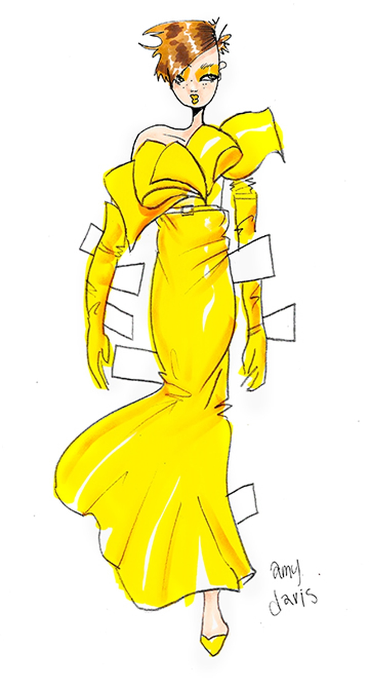Acid yellow leather dress and gloves by Moschino; lipstick by Giorgio Armani's Lip Maestro in #302