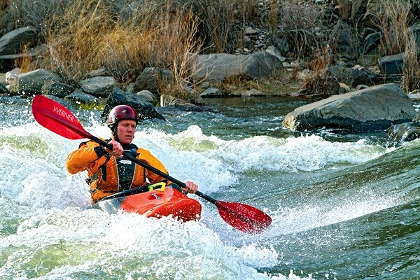 Rolf Kelly kayaks the Taos Box on April 1, but river runners predict that this summer the Rio Grande won't have much whitewater.