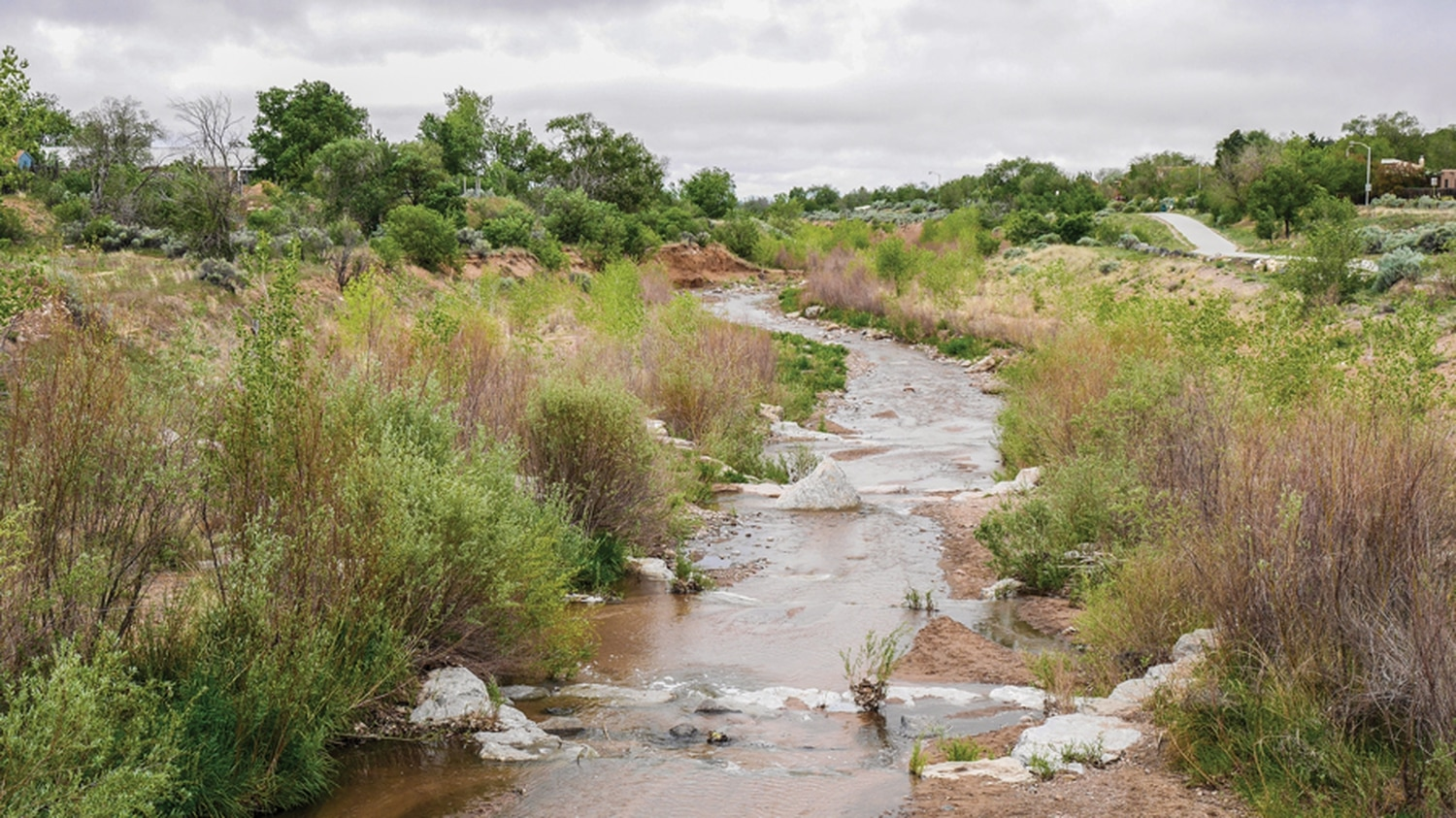 The Santa Fe River is fed by some 80 miles of arroyos webbed through town.
