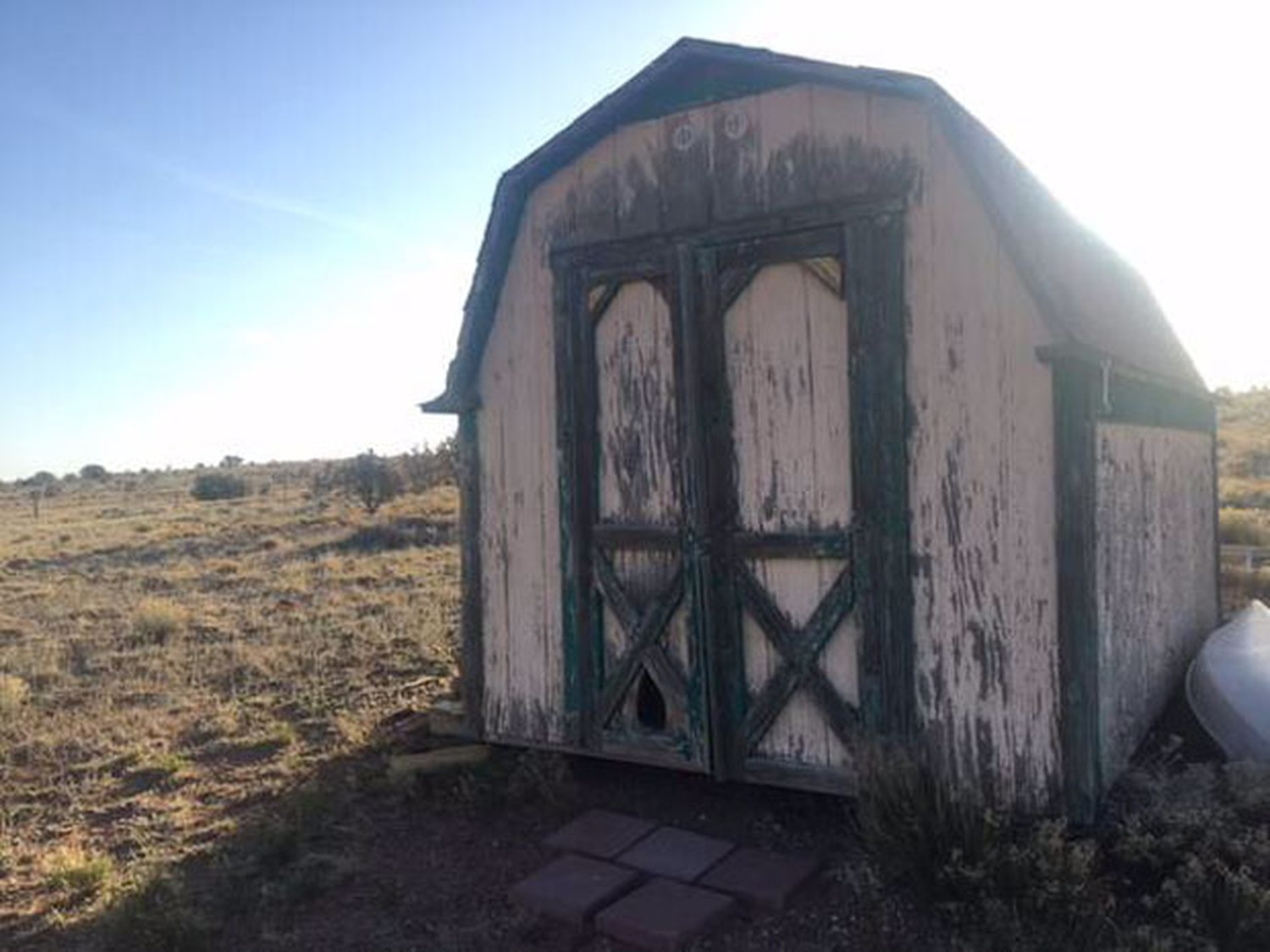 """""""Try limiting your negative thoughts to NO MORE than two per diem,"""" reads this post advertising more Santa Fe """"affordable housing"""" that also promises an """"attached bathroom"""" and pictures a metal bucket."""