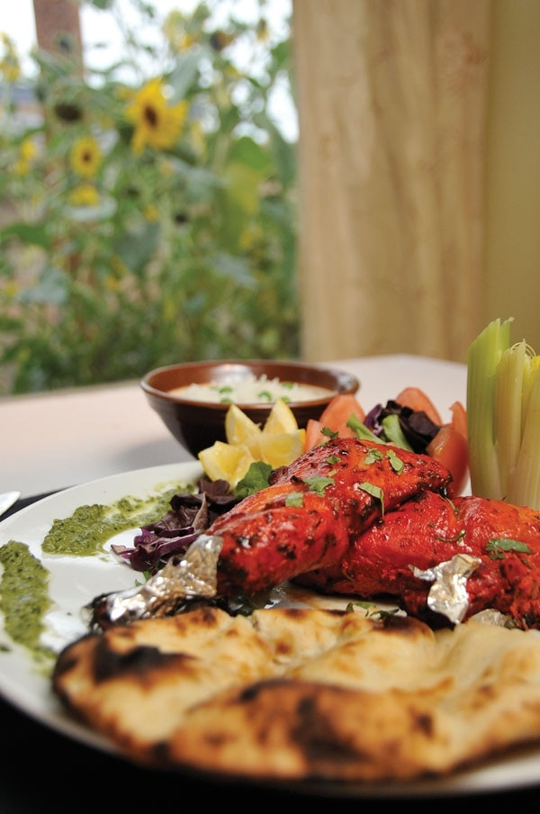 Ancho amchur-crusted tandoori chicken with rice and naan