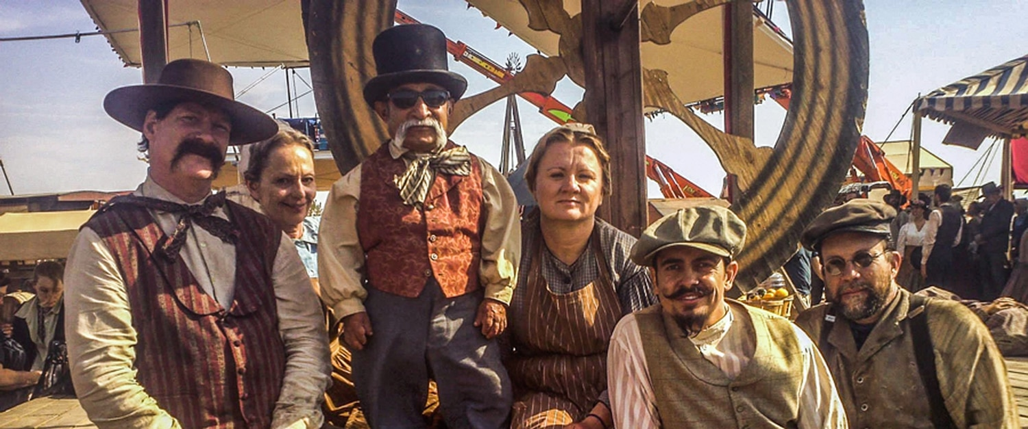 Kiko Sanchez (second from right) poses with other extras on the set of 'A Million Ways to Die in the West.'