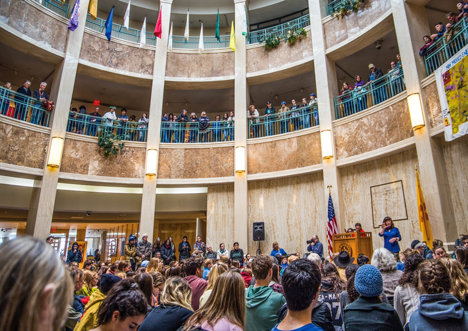 Hundreds of students sat in at the Roundhouse atrium on one of the last day's of the legislative session to bring attention to climate change.