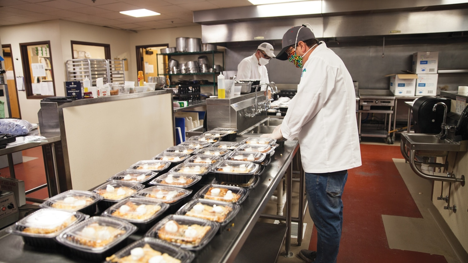 Faculty from the SFCC culinary arts department prepare ready-to-eat meals.