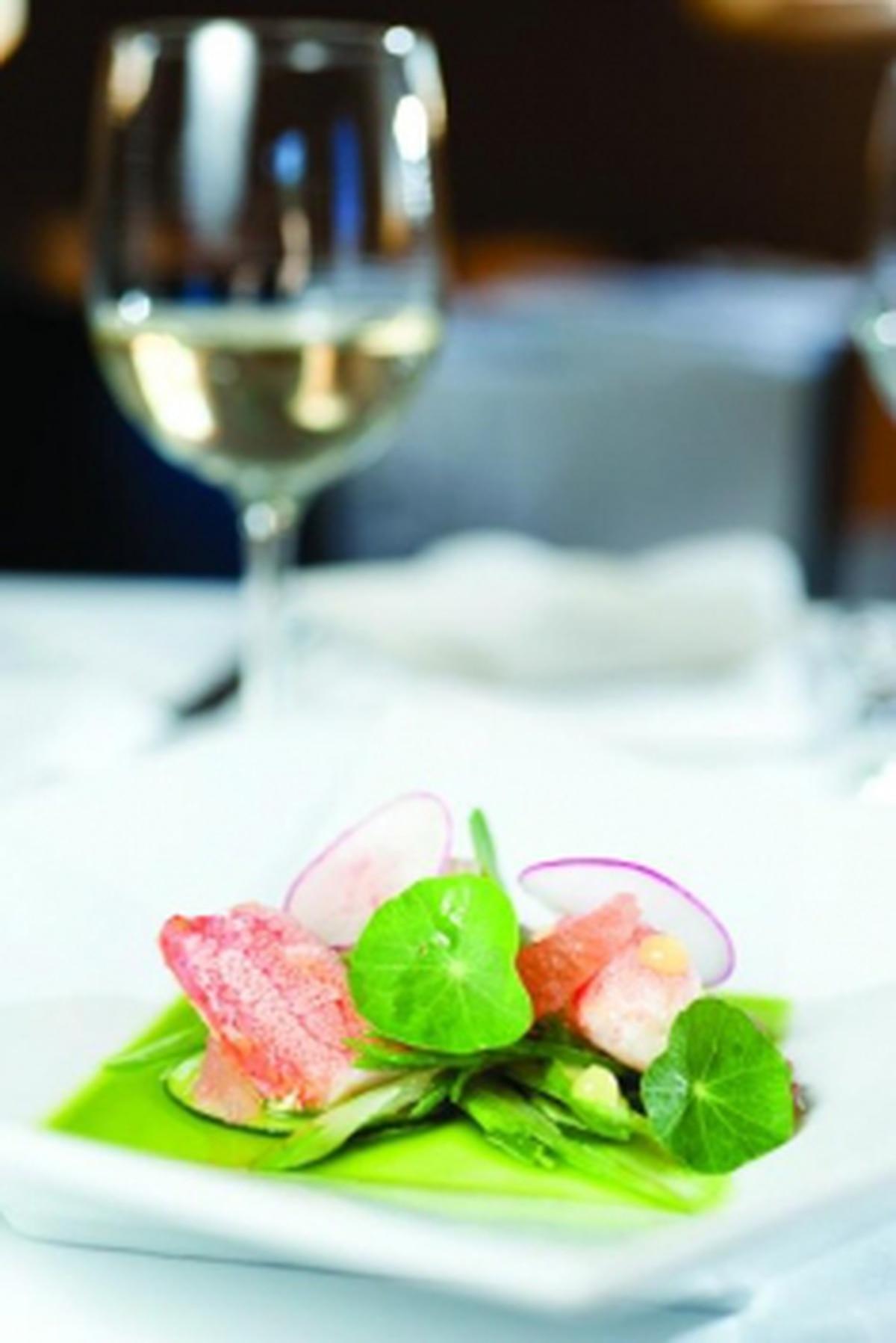 Stone crab salad with grapefruit, fennel, cucumber and nasturtium Photo: Joy Godfrey
