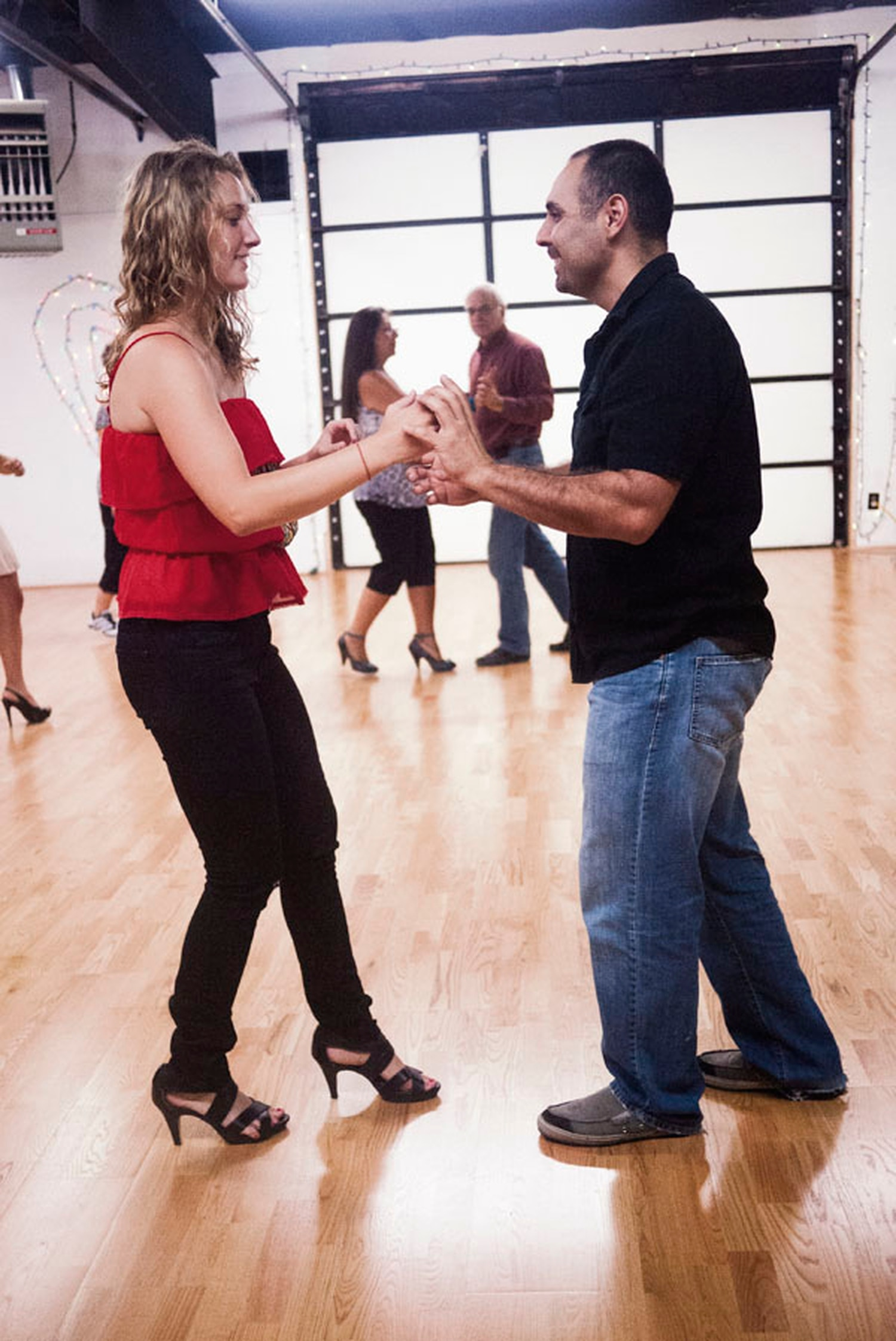 """Santa Fe native and former professional dancer David Lopez (right) teaches the author to harness her """"mind-body-music connection."""""""