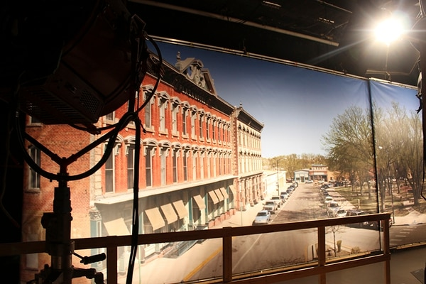 The giant projection of Las Vegas, NM's town center provides a picturesque view from the windows in the sheriff's office.