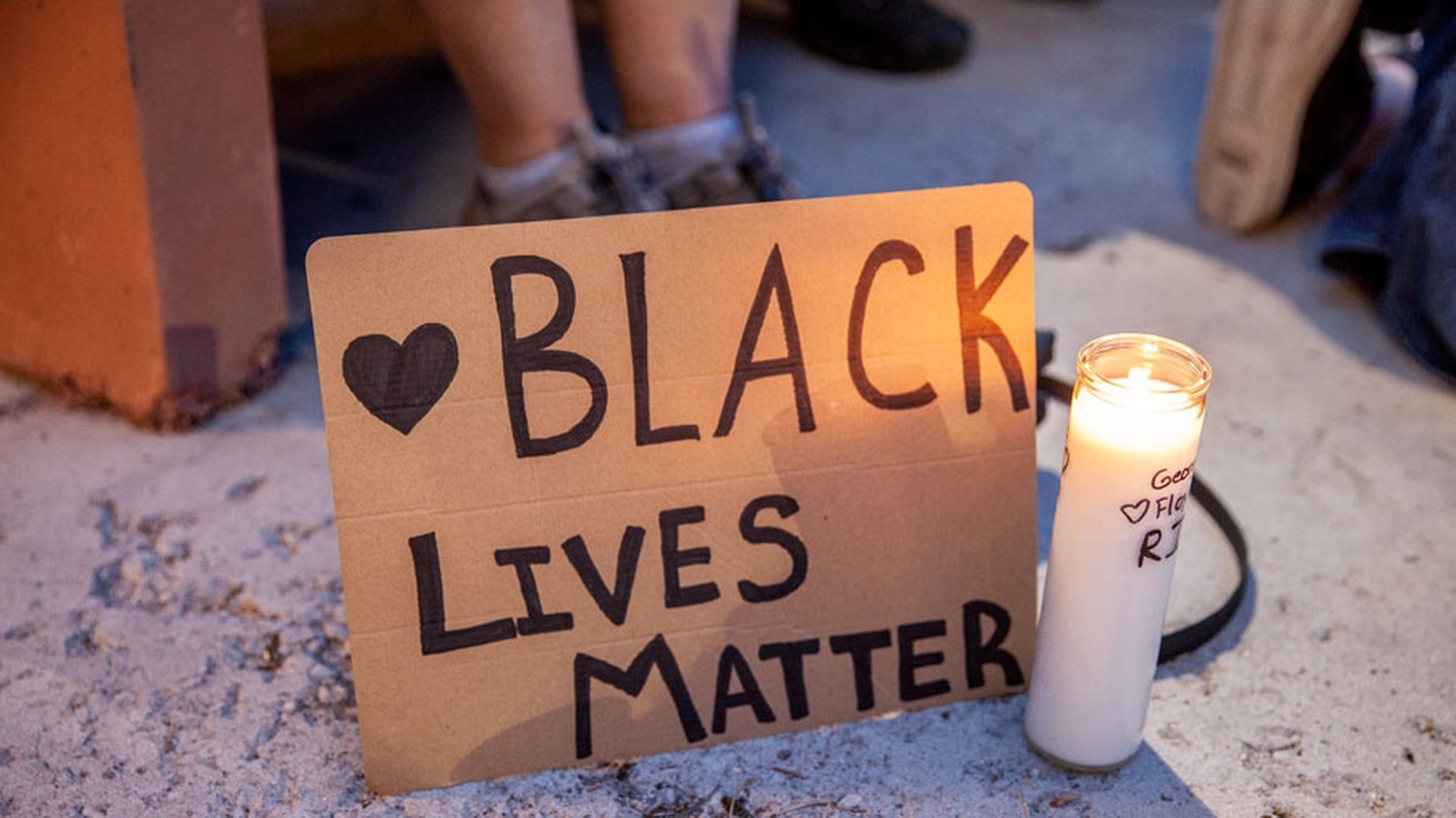 One of many Black Lives Matter signs at Sunday's vigil for the death of George Floyd.