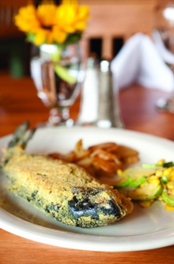 Breaded rainbow trout with papas fritas and calabacitas Photo: Joy Godfrey