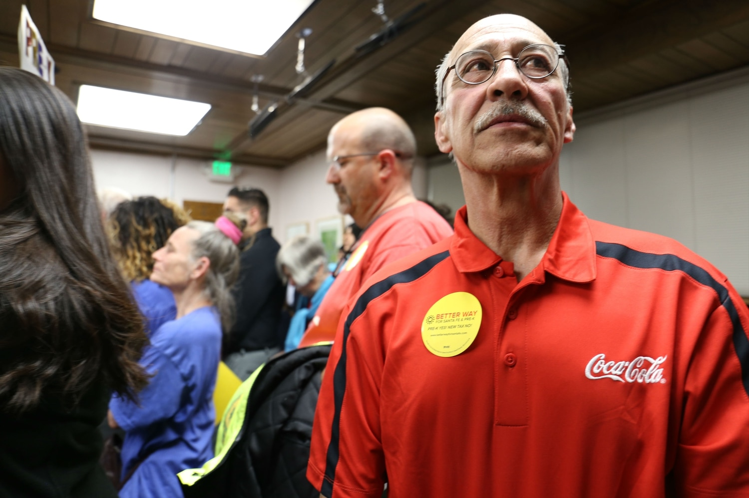 A local Coca-Cola employee waits to speak against the special election.Steven Hsieh